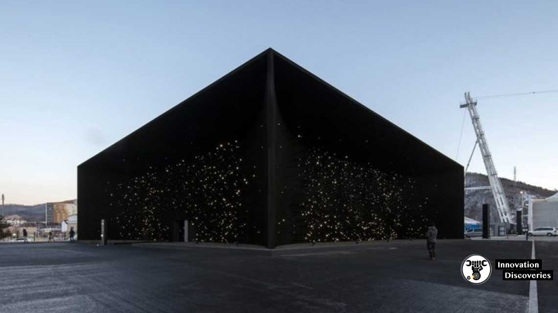 Asif Khan's Vantablack Winter Olympics Pavilion Absorbs Light