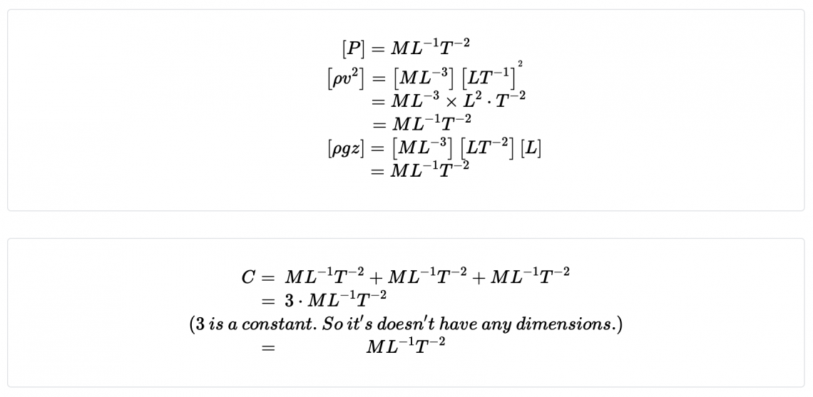 Where P = pressure, ρ=density, v=velocity, z=height, g= acceleration due to gravity. Find the dimensions of the constant
